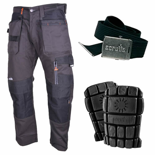 3D Trade Work Trousers with Holster Pockets Kit - Graphite