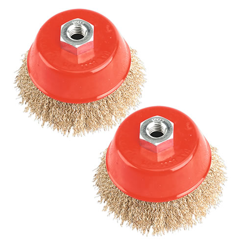 Sealey CBC100 Sealey Ø100mm Brassed Steel Cup Brush M14 Thread Twinpack