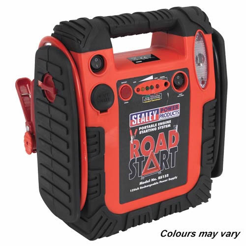 Sealey RS132 Sealey RoadStart® Emergency Power Pack with Air Compressor 12V 900 Peak Amps