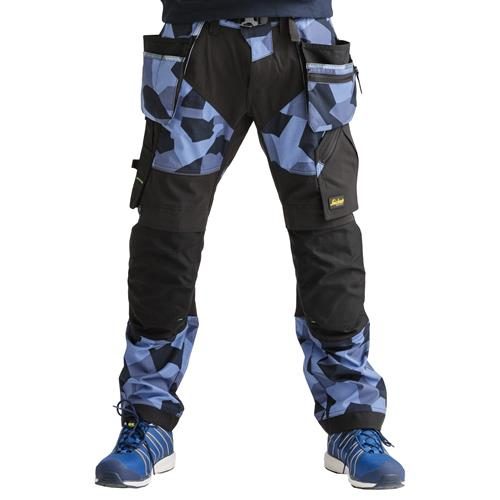 Snickers FlexiWork Camo Trousers with Holster Pockets (Navy)