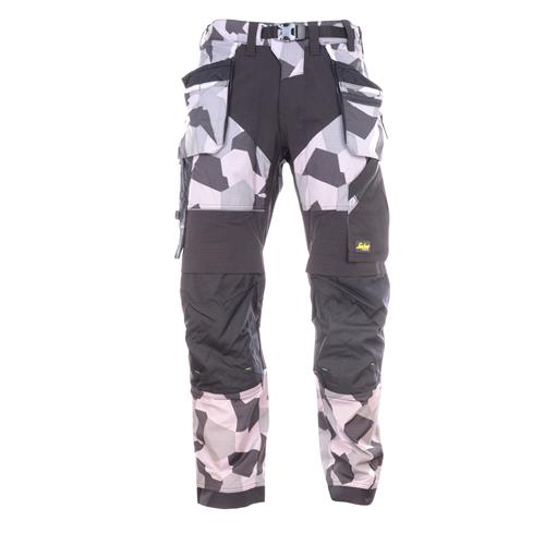 Snickers 69028704 Snickers FlexiWork Camo Trousers with Holster Pockets (Grey)