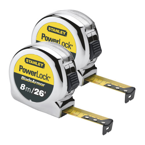 Stanley 033526PK2 Powerlock Blade Armor Tape Measure 8m/26ft - Pack of 2