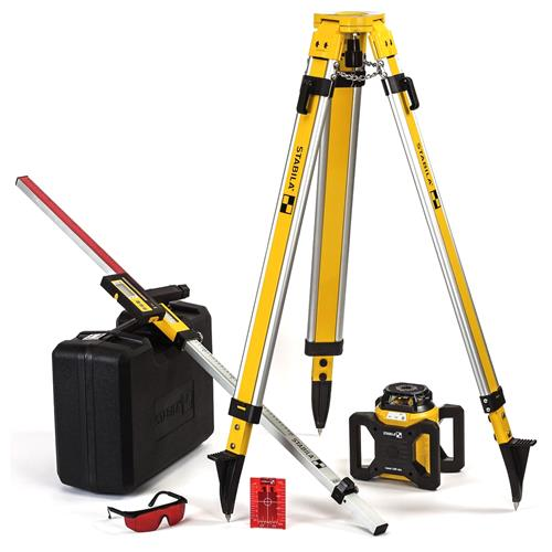 Stabila LAR160LSET Motorised Self levelling rotating red laser with receiver, Tripod and Staff