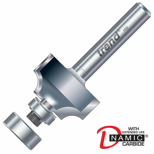 """Trend 46/118X1/4TC Guided Rounding Over Cutter 9.5mm Cut - 1/4"""" Shank, 18.7mm Dia, 3mm Radius"""