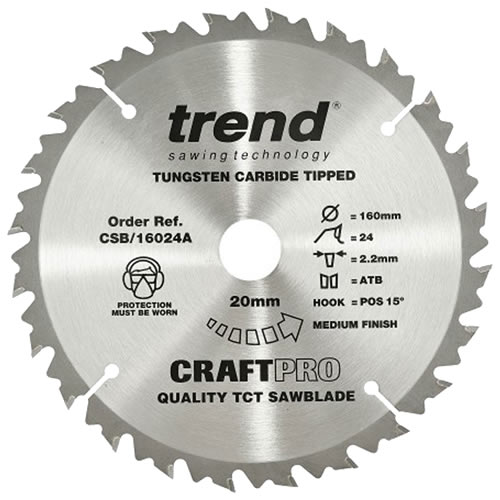 Trend CSB/16024A Trend CRAFTPRO Plunge Sawblade 160mm 20mm 24 Tooth