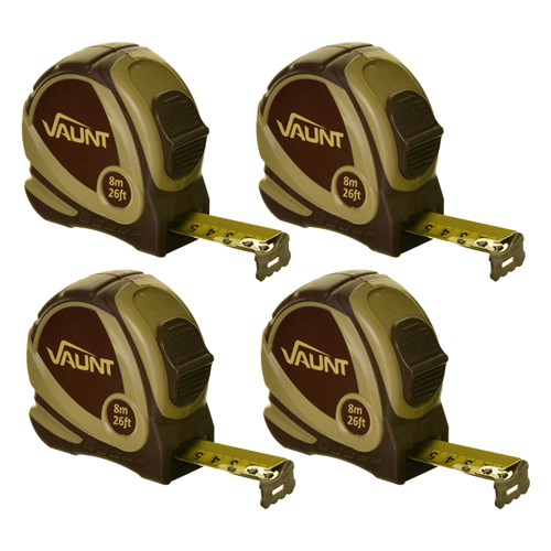 Vaunt 20006 Tape Measure 8m/26ft - Pack of 4