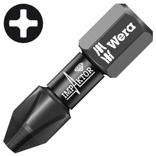 Wera 057616 WERA PH2 25mm (PK10) Impaktor Diamond Screwdriver Bits