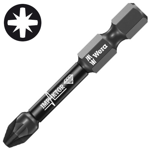 Wera 073961 WERA PZ2 50mm Impaktor Diamond Screwdriver Bit