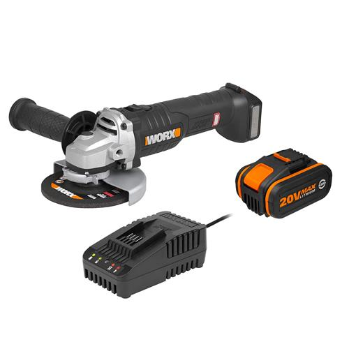 Worx 20V MAX Brushless 125mm Angle Grinder with 1 x 4Ah Battery and Charger