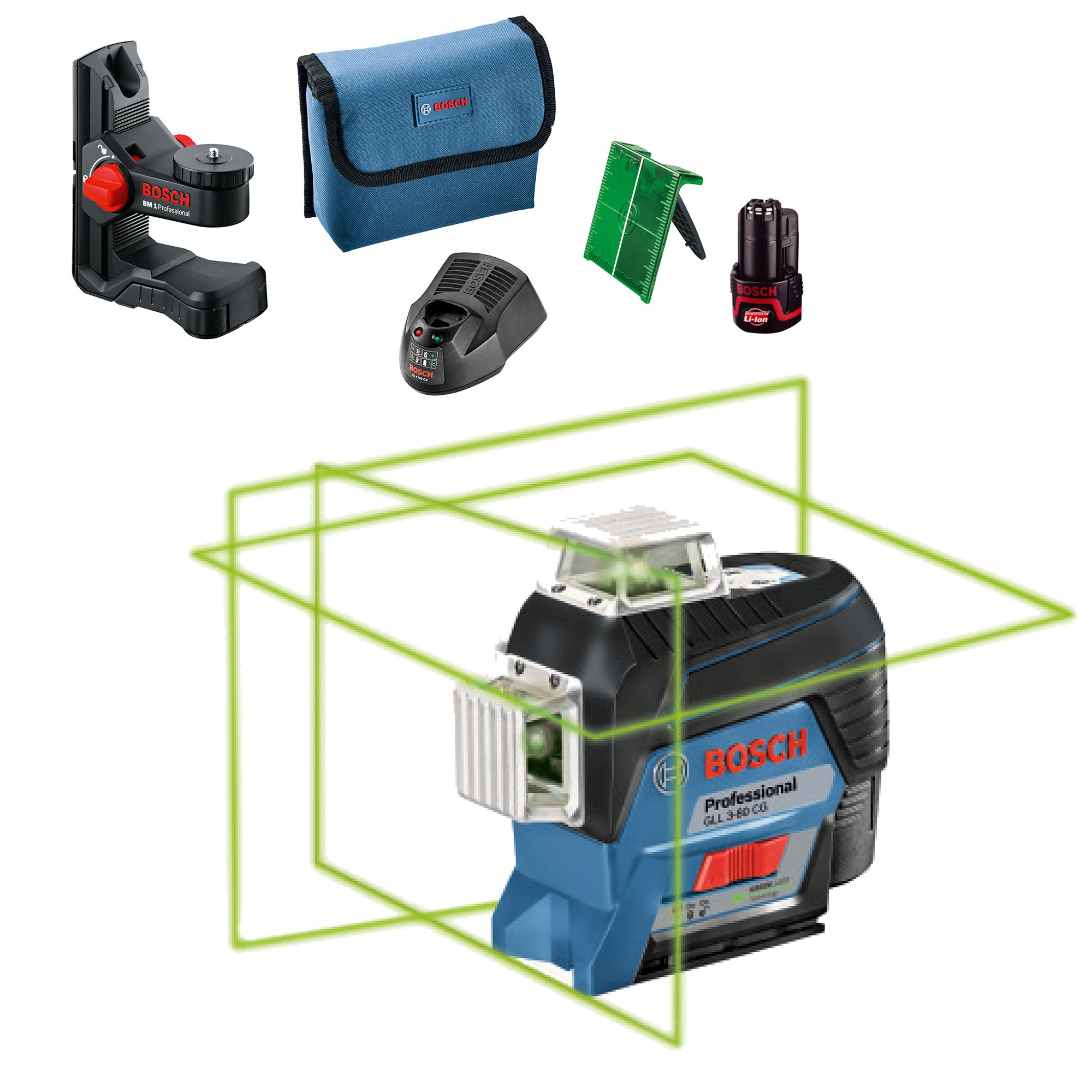 bosch gll 3-80cg | self-levelling 360° connected green beam laser