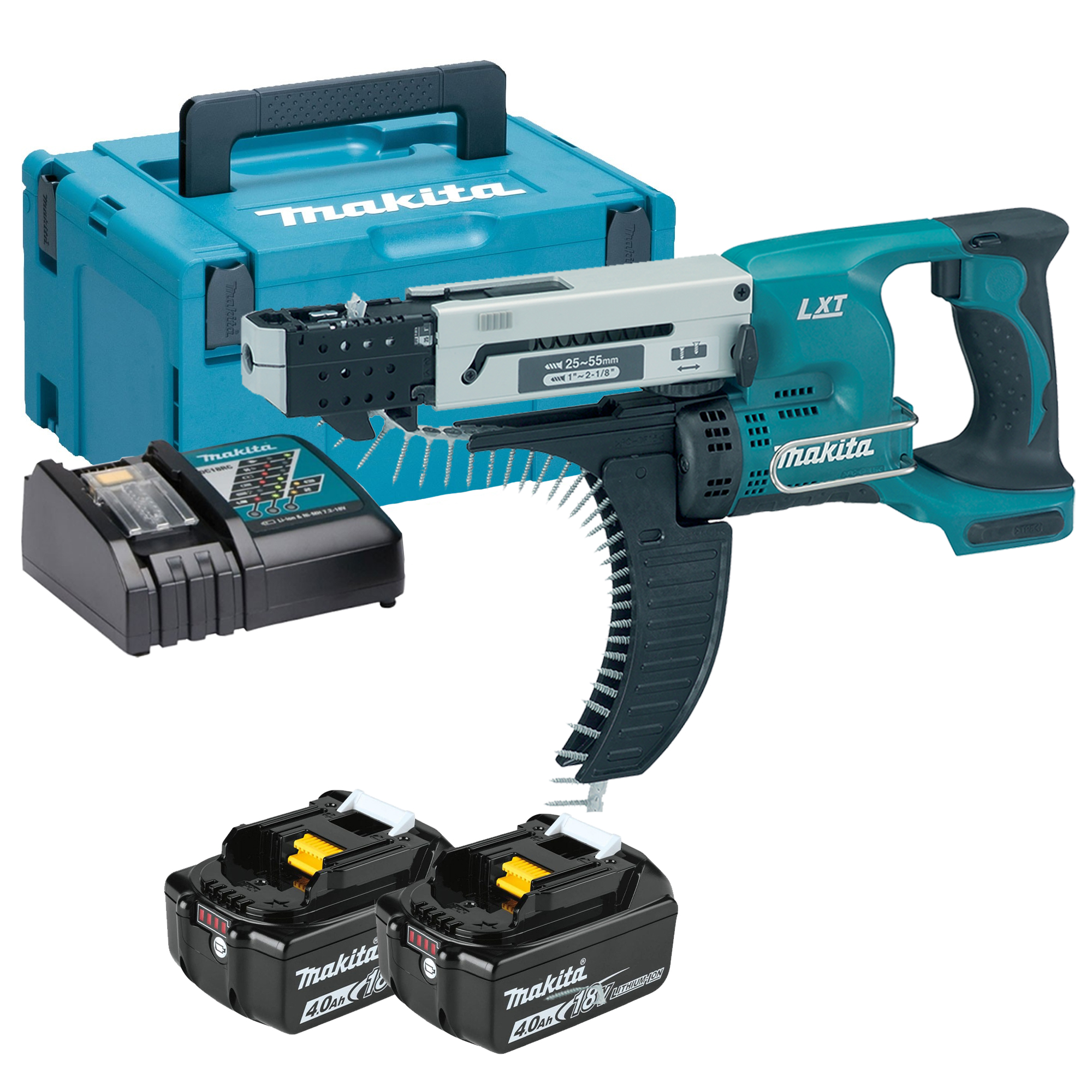 makita dfr550rmj 18v lxt 25 55mm auto feed screwdriver with 2 x 4ah batteries charger and case