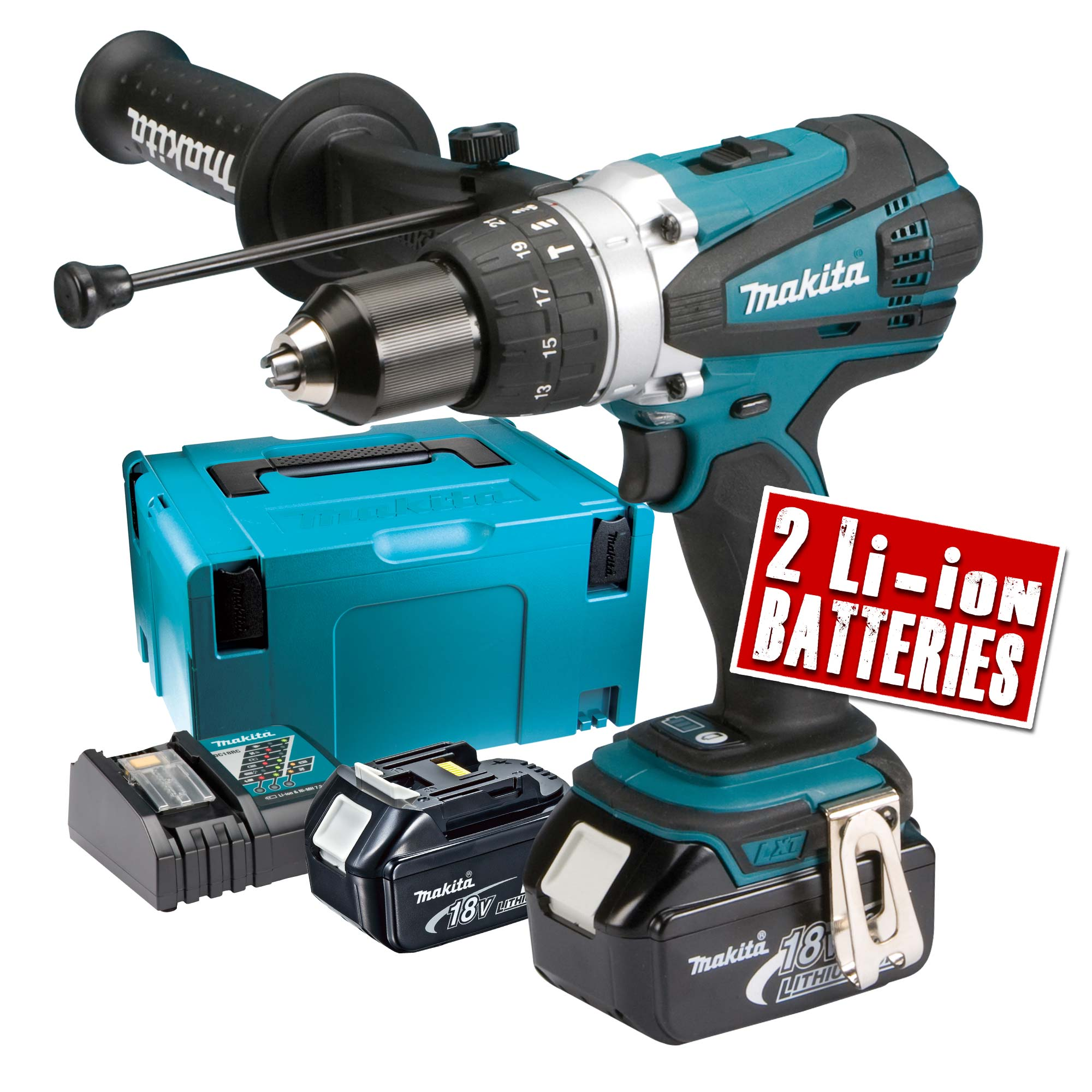makita dhp458rj makita 18v li ion hammer drill driver. Black Bedroom Furniture Sets. Home Design Ideas