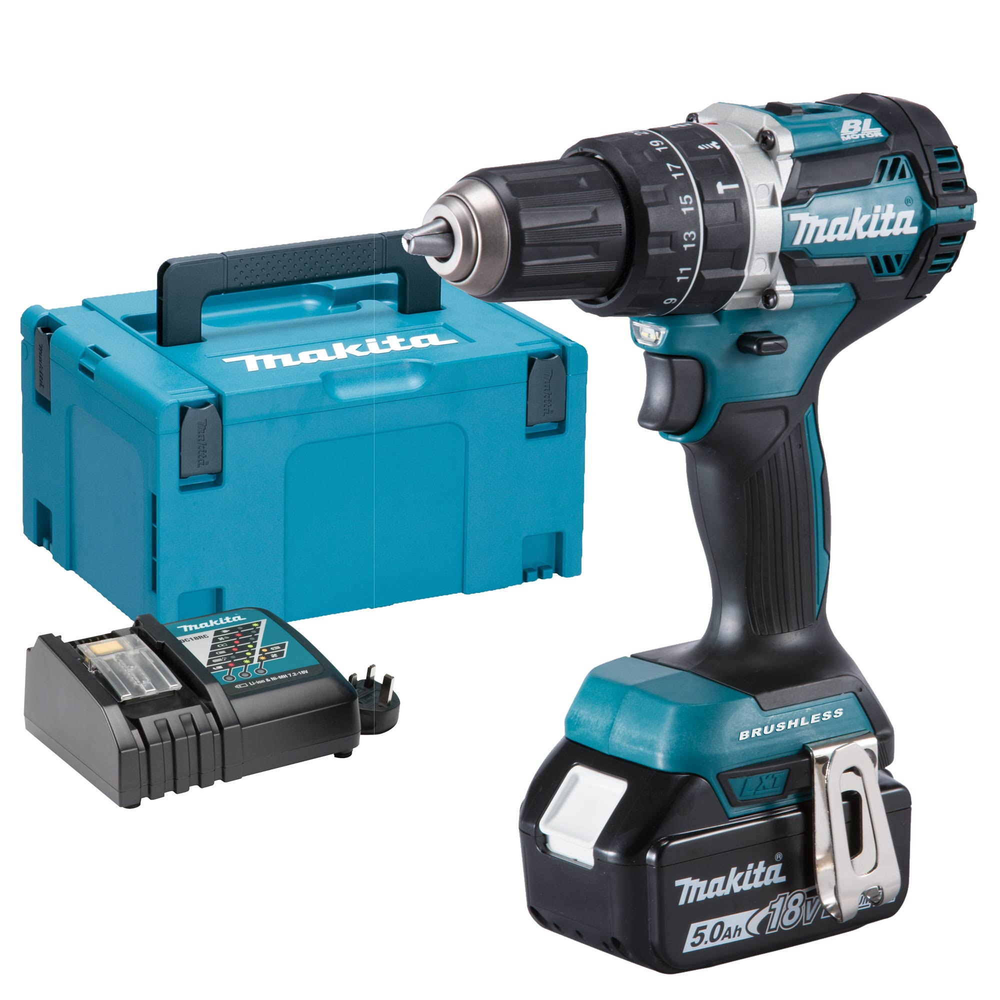 makita dhp484rtjx makita 18v li ion 5 0ah brushless hammer drill driver. Black Bedroom Furniture Sets. Home Design Ideas