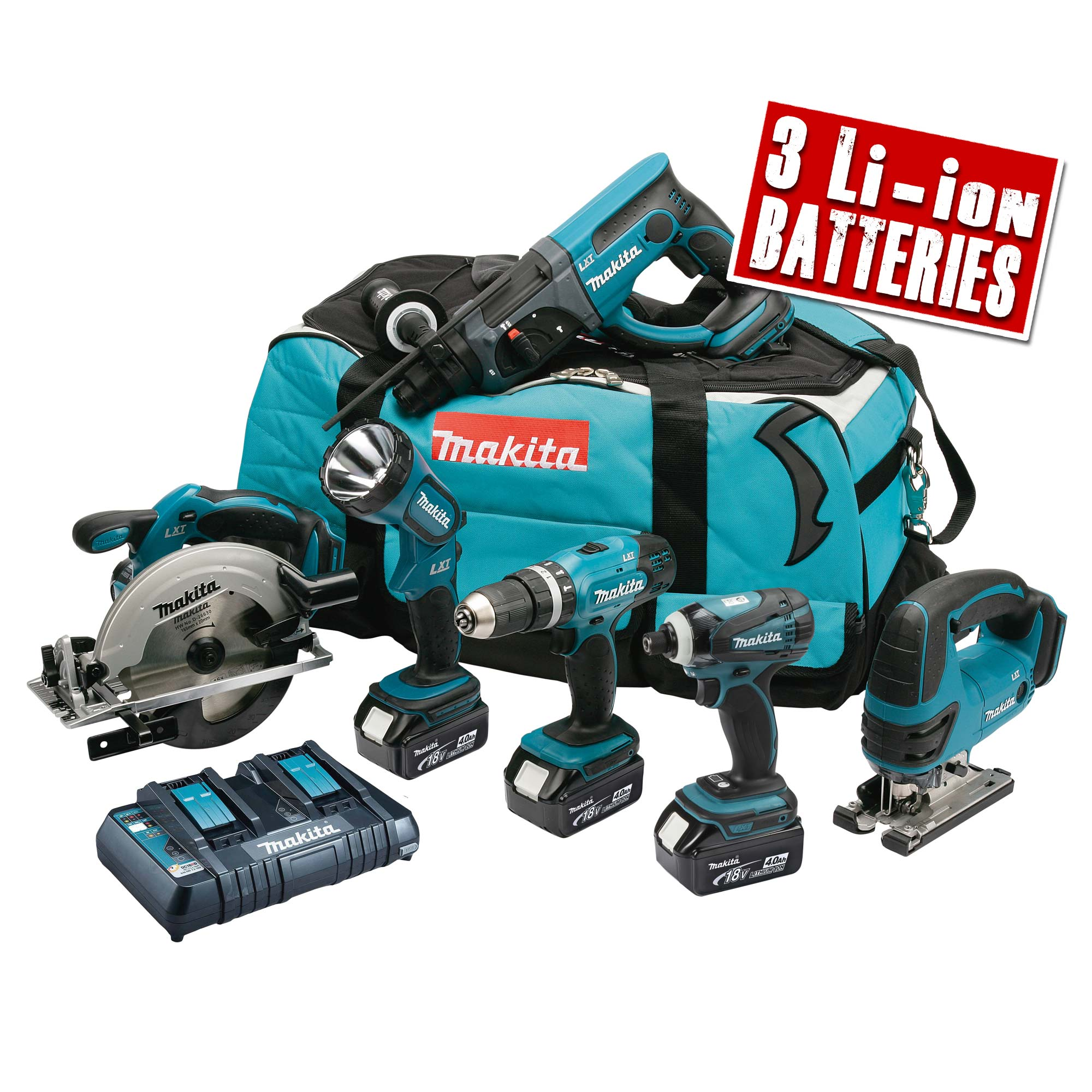 makita dlx6017pm makita 18v li ion 6 piece kit. Black Bedroom Furniture Sets. Home Design Ideas