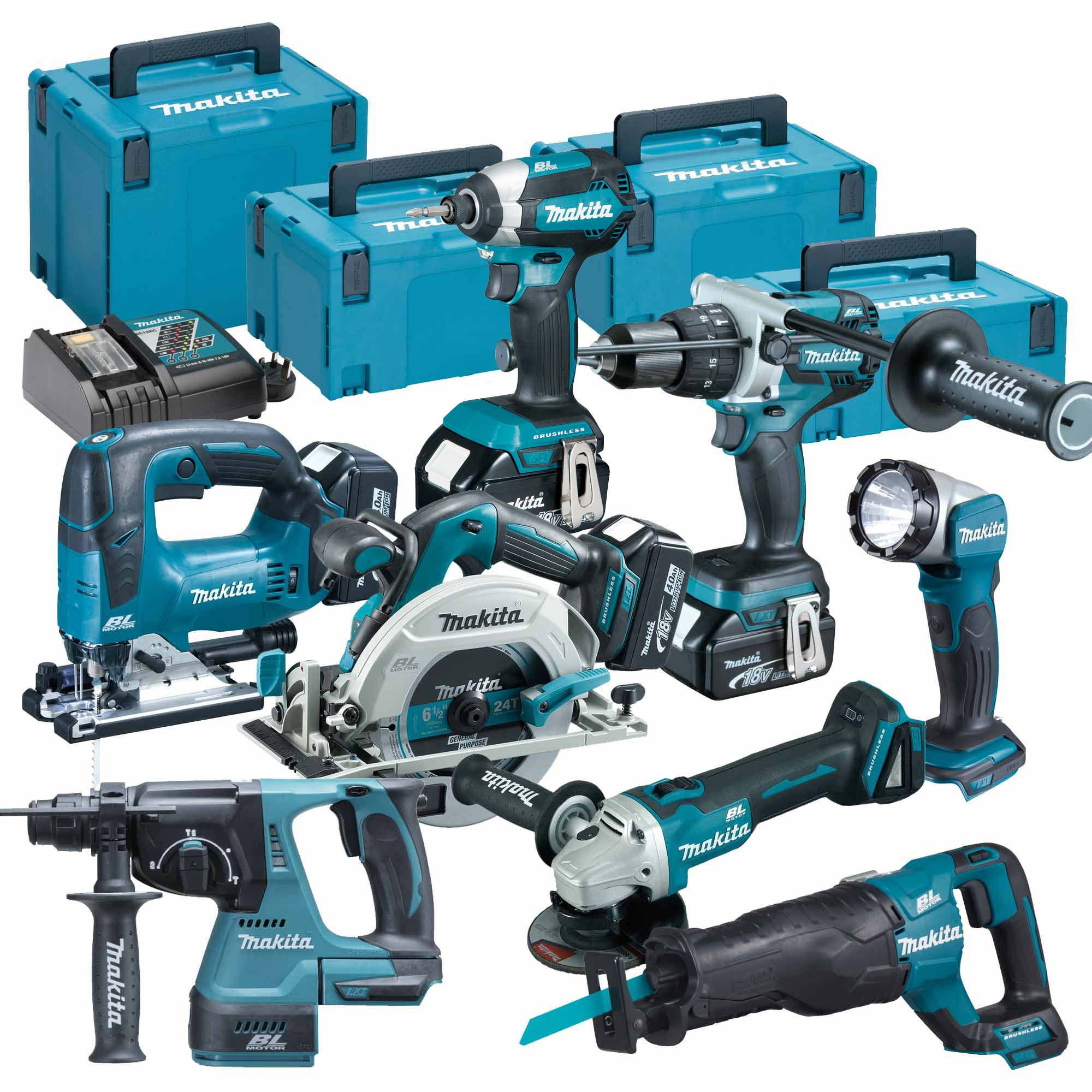 makita topkit8bj makita 18v 8 piece fully brushless kit. Black Bedroom Furniture Sets. Home Design Ideas