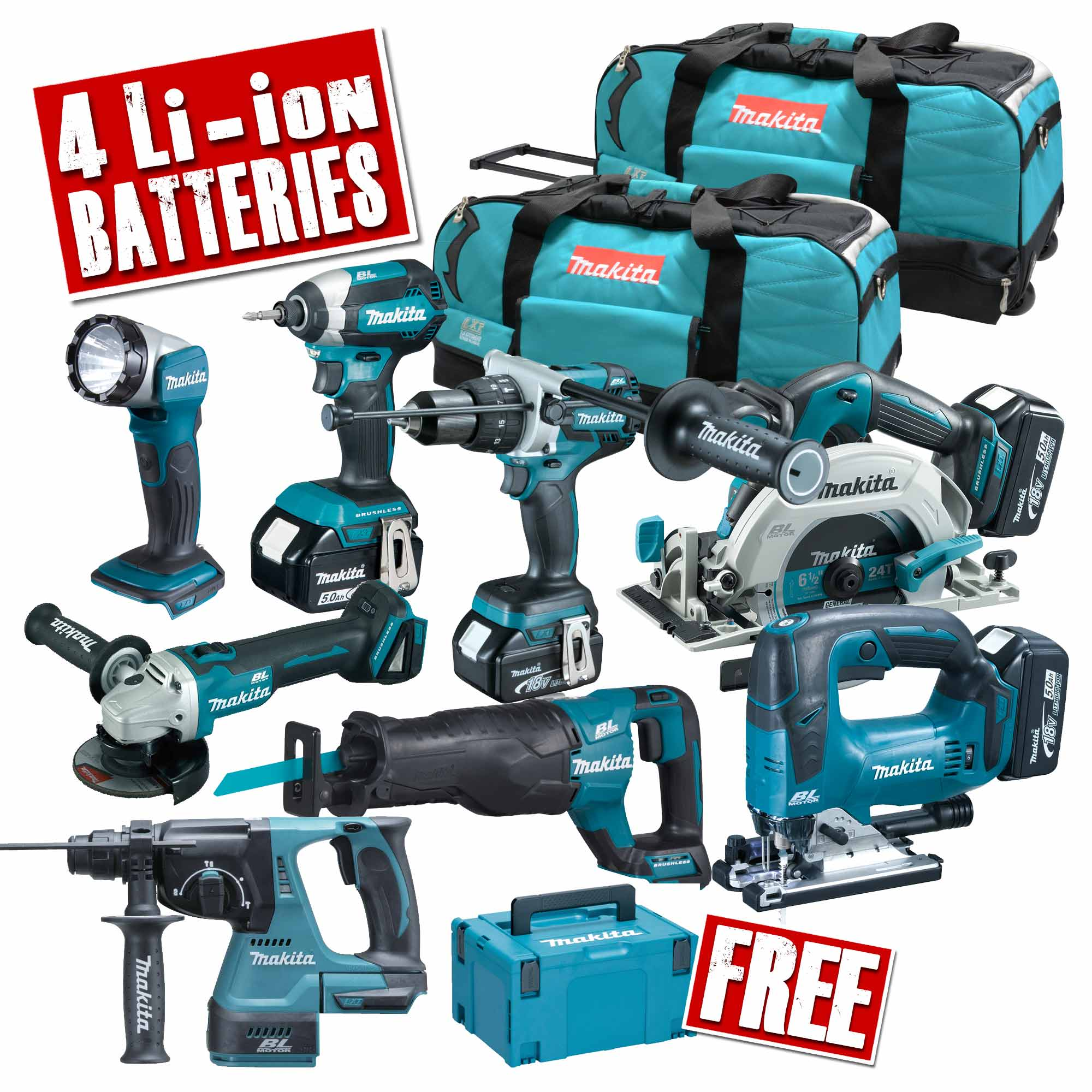 makita topkit8cj makita 18v 8 piece li ion fully. Black Bedroom Furniture Sets. Home Design Ideas